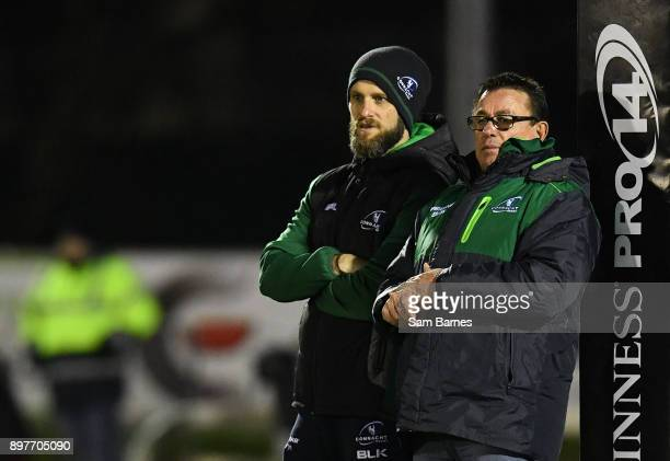 Galway Ireland 23 December 2017 Connacht head coach Kieran Keane right and David Howarth Connacht head of strength and conditioning ahead of the...