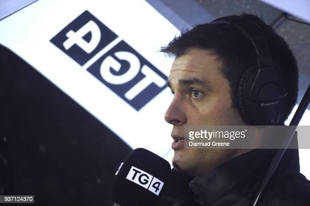 Galway Ireland 23 March 2018 Former Connacht player Ronan Loughney working as a pitchside analyst with TG4 during the Guinness PRO14 Round 18 match...