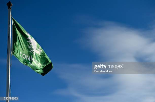 Galway , Ireland - 24 January 2021; A Connacht flag flies in the wind prior to the Guinness PRO14 match between Connacht and Ospreys at The...