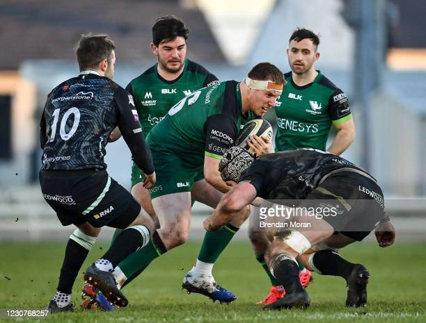 Galway , Ireland - 24 January 2021; Shane Delahunt of Connacht is tackled by Dan Lydiate of Ospreys during the Guinness PRO14 match between Connacht...
