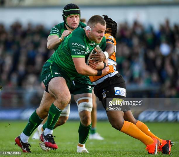 Galway , Ireland - 26 October 2019; Finlay Bealham of Connacht is tackled by Joseph Dweba of Toyota Cheetahs during the Guinness PRO14 Round 4 match...