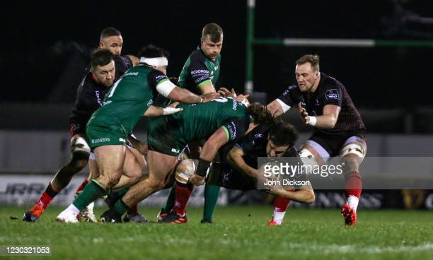 Galway , Ireland - 27 December 2020; Greg Jones of Ulster is tackled by Finlay Bealham of Connacht during the Guinness PRO14 match between Connacht...