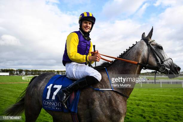 Galway , Ireland - 27 July 2020; Finny Maguire on Princess Zoe celebrates winning the Connacht Hotel Handicap on day one of the Galway Summer Racing...