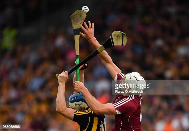 Galway Ireland 27 May 2018 Gearóid McInerney of Galway in action against TJ Reid of Kilkenny during the Leinster GAA Hurling Senior Championship...
