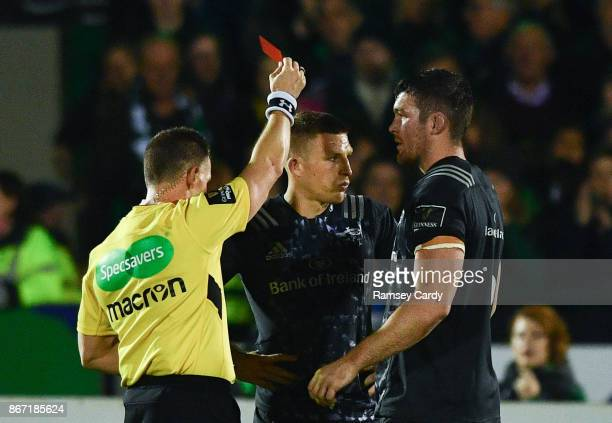 Galway Ireland 27 October 2017 Munster's Andrew Conway centre receives a red card from referee Nigel Owens during the Guinness PRO14 Round 7 match...