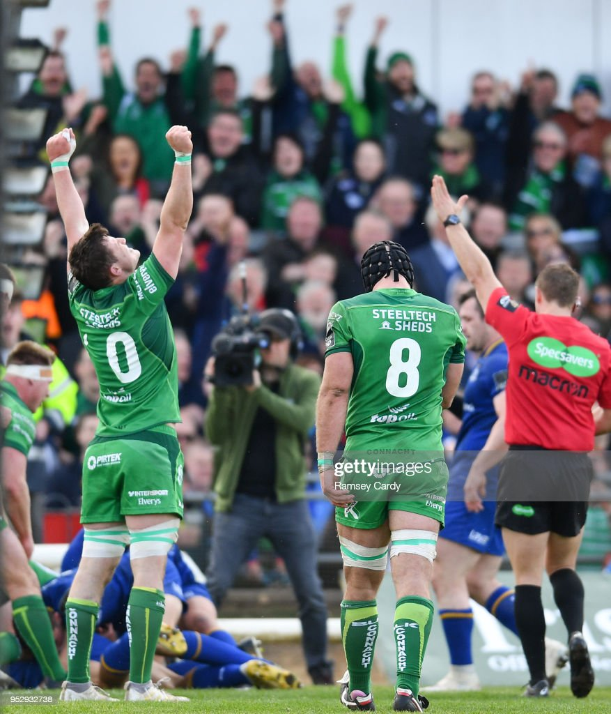 Galway , Ireland - 28 April 2018; Eoghan Masterson of Connacht celebrates at the final whistle of the Guinness PRO14 Round 21 match between Connacht and Leinster at the Sportsground in Galway.