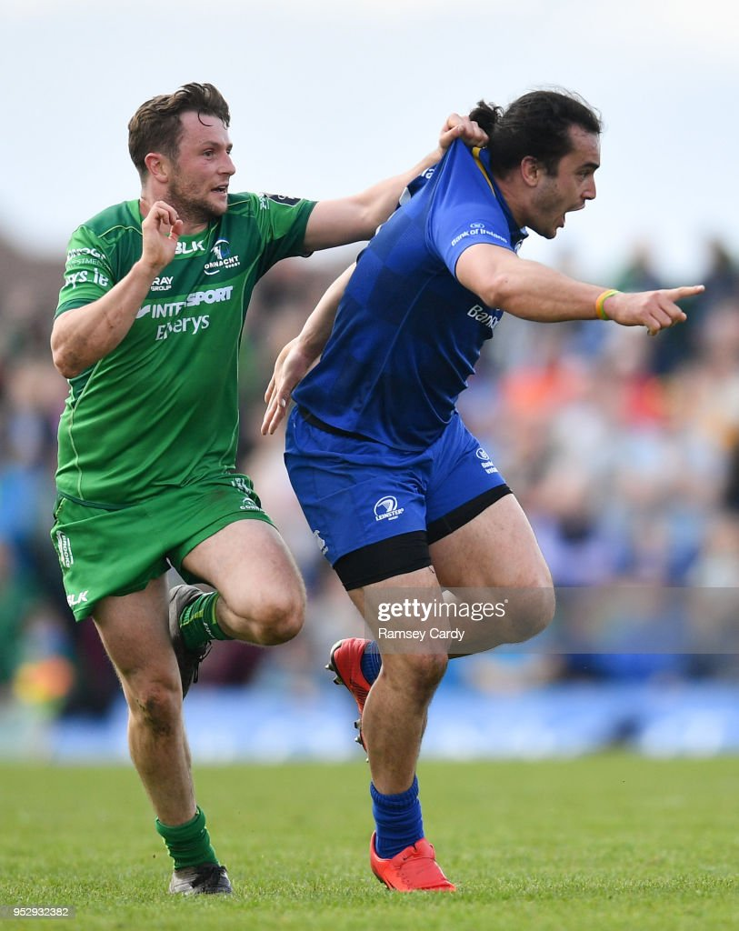 Galway , Ireland - 28 April 2018; Jack Carty of Connacht in action against James Lowe of Leinster during the Guinness PRO14 Round 21 match between Connacht and Leinster at the Sportsground in Galway.