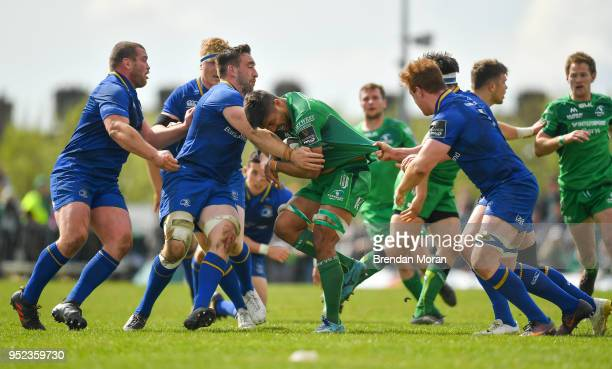 Galway Ireland 28 April 2018 Jarrad Butler of Connacht is tackled by Jack Conan 2nd left and Max Deegan of Leinster during the Guinness PRO14 Round...