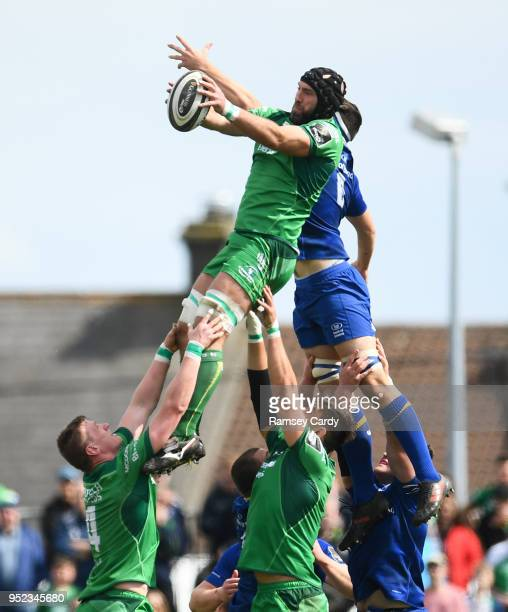 Galway Ireland 28 April 2018 John Muldoon of Connacht wins possession in the lineout ahead of Max Deegan of Leinster during the Guinness PRO14 Round...