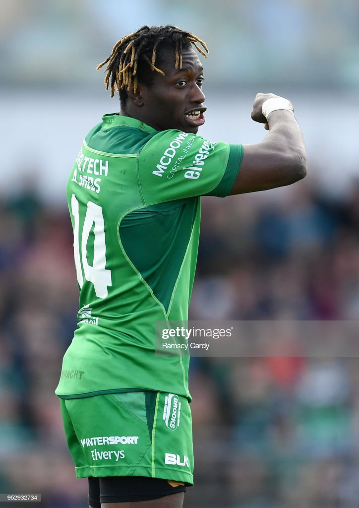 Galway , Ireland - 28 April 2018; Niyi Adeolokun of Connacht during the Guinness PRO14 Round 21 match between Connacht and Leinster at the Sportsground in Galway.