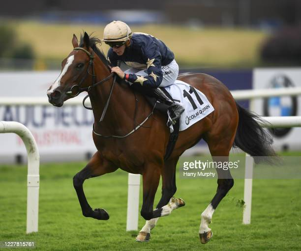 Galway , Ireland - 28 July 2020; Champers Elysees, with Ben Coen up, on their way to winning the COLM QUINN BMW Irish EBF Corrib Fillies Stakes on...