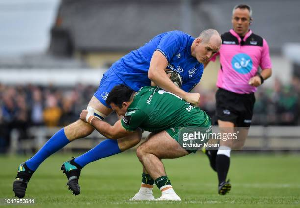 Galway Ireland 29 September 2018 Devin Toner of Leinster is tackled by Denis Buckley of Connacht during the Guinness PRO14 Round 5 match between...