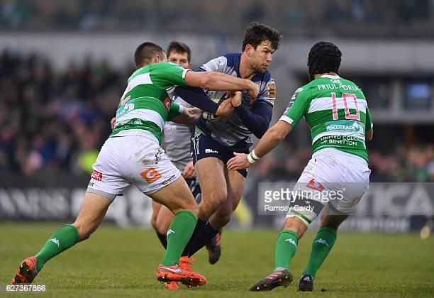 Galway Ireland 3 December 2016 Danie Poolman of Connacht is tackled by Alberto Sgarbi left and Ian McKinley of Treviso during the Guinness PRO12...