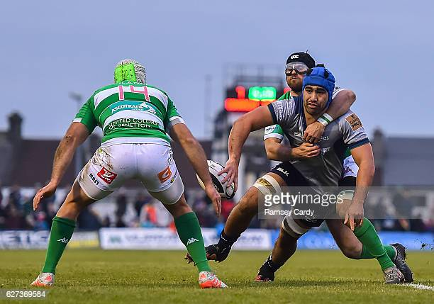 Galway Ireland 3 December 2016 Nepia FoxMatamua of Connacht offloads from the tackle by Ian McKinley of Treviso to set up his side's second try...