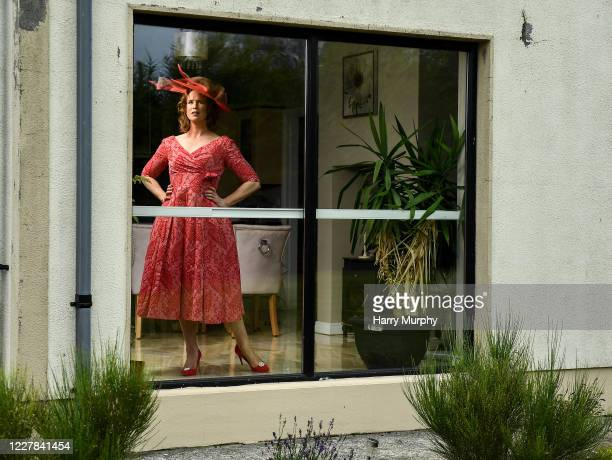 Galway Ireland 30 July 2020 Michelle Drysdale from Craughwell in Galway in her outfit for the 2020 Galway Races Ladies Day which has now had to go...