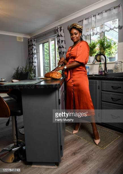 Galway Ireland 30 July 2020 Miss Galway 2020 Pamela Uba pictured at home in her outfit for the 2020 Galway Races Ladies Day which has now had to go...