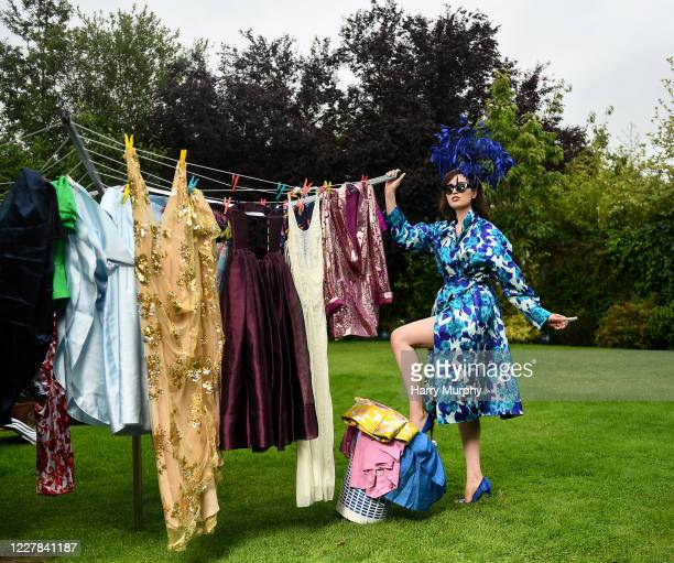 Galway Ireland 30 July 2020 Niamh McKeever from Dundalk in Louth in her outfit for the 2020 Galway Races Ladies Day which has now had to go virtual /...