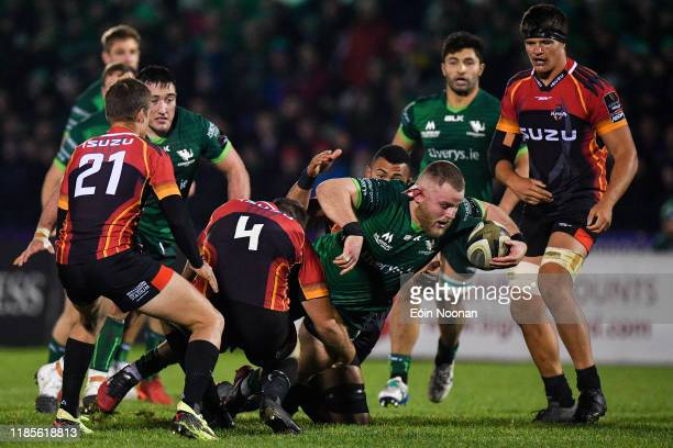 Galway , Ireland - 30 November 2019; Finlay Bealham of Connacht is tackled by Jerry Sexton of Southern Kings during the Guinness PRO14 Round 7 match...