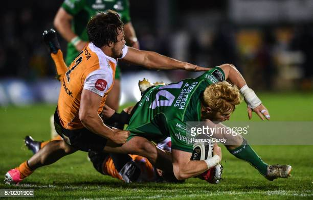 Galway Ireland 4 November 2017 Darragh Leader of Connacht is tackled by Nico Lee of Cheetahs during the Guinness PRO14 Round 8 match between Connacht...