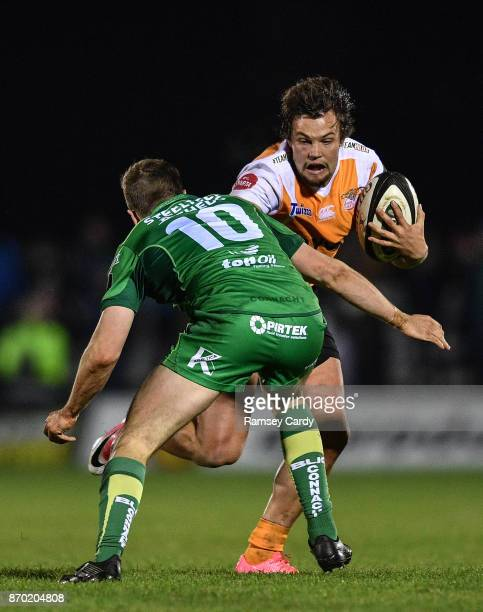 Galway Ireland 4 November 2017 Nico Lee of Cheetahs is tackled by Jack Carty of Connacht during the Guinness PRO14 Round 8 match between Connacht and...