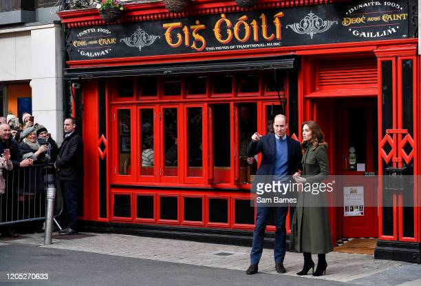 Galway , Ireland - 5 March 2020; Prince William, Duke of Cambridge and Catherine, Duchess of Cambridge outside Tig Coili pub, Galway City Centre,...
