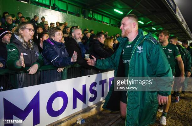 Galway , Ireland - 5 October 2019; Finlay Bealham of Connacht celebrates with fans following the Guinness PRO14 Round 2 match between Connacht and...