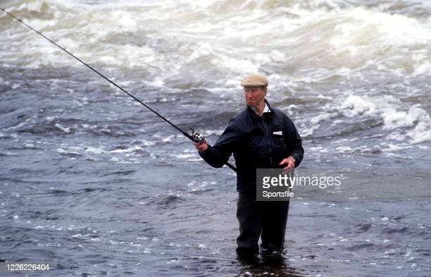 Galway Ireland 6 June 1993 Republic of Ireland manager Jack Charlton during a fishing trip to Galway