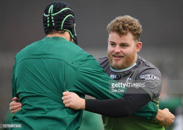 Galway , Ireland - 8 January 2019; Finlay Bealham, left, during Connacht Rugby squad training at the Sportsground in Galway.