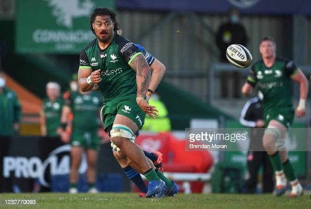 Galway , Ireland - 8 May 2021; Abraham PapaliI of Connacht offloads the ball during the Guinness PRO14 Rainbow Cup match between Connacht and...