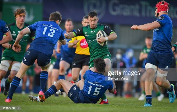 Galway , Ireland - 8 May 2021; Caolin Blade of Connacht is tackled by Hugo Keenan of Leinster during the Guinness PRO14 Rainbow Cup match between...