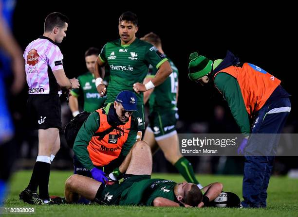 Galway , Ireland - 8 November 2019; Finlay Bealham of Connacht is attended to before leaving the pitch with an injury during the Guinness PRO14 Round...