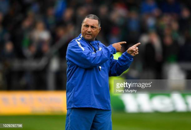 Galway Ireland 8 September 2018 Zebre head coach Michael Bradley during the Guinness PRO14 Round 2 match between Connacht and Zebre at The...
