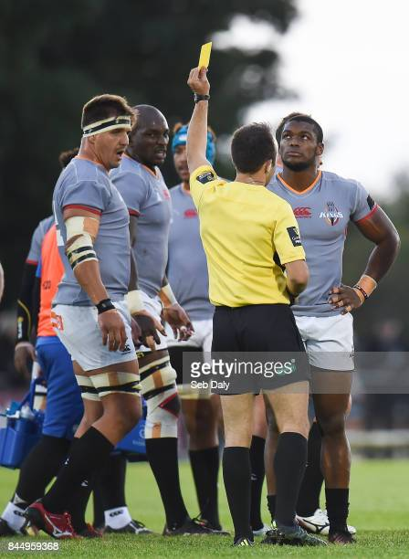 Galway Ireland 9 September 2017 Sibusiso Sithole of Southern Kings right is shown a yellow card by referee Mike Adamson during the Guinness PRO14...