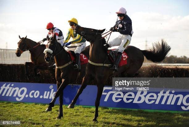 Galway Jack ridden by Andrew Thornton jumps the last fence to win The totepoolcom Best Odds On Irish Lotto Handicap Steeple Chase ahead of Balzaccio...