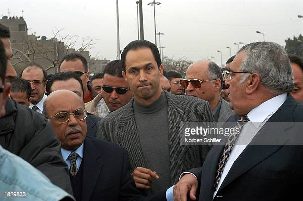 Gamal Mubarak the eldest son of Egyptian President Hosni Mubarak joins thousands of demonstrators to protest a possible US war against Iraq March 5...