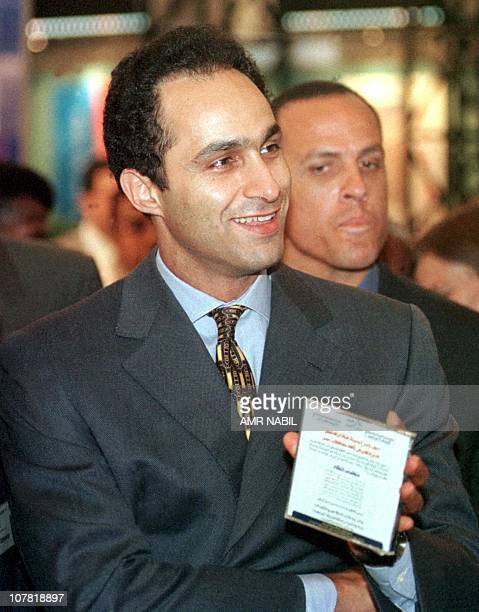 Gamal Mubarak the eldest son of Egyptian president Hosni Mubarak attends the COMDEX computer exhibition 13 May 1999 in Cairo Egypt is the world's...