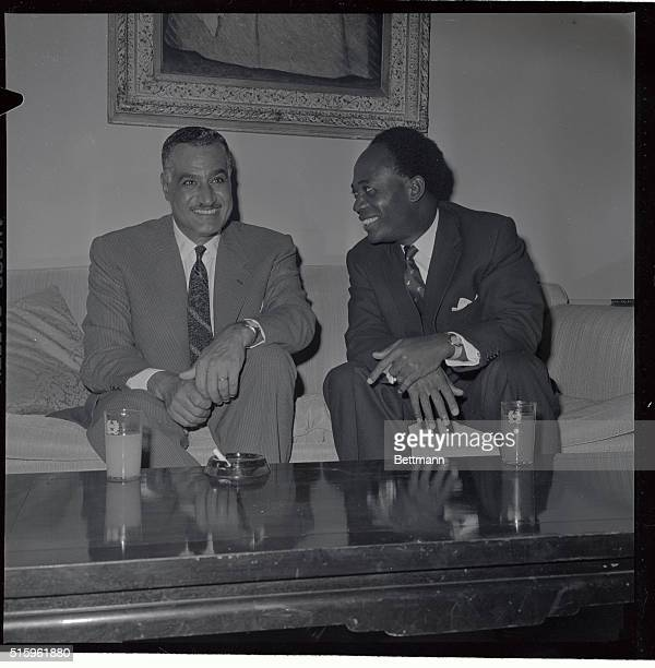 Gamal Nasser of Egypt and Dr Kwame Nerumah President of Ghana meet here at the latter's suite in the Waldorf Towers