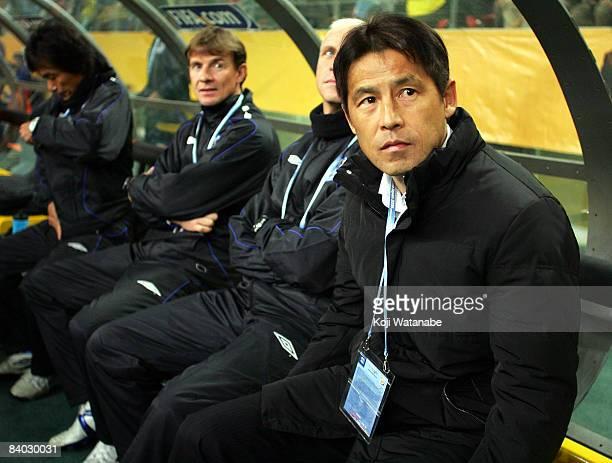Gamba Osaka coach Akira Nishino waits for the start of FIFA Club World Cup Japan 2008 match between Adelaide United and Gamba Osaka at Toyota Stadium...