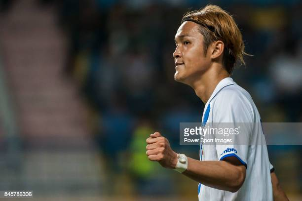 Gamba Osaka forward Usami Takashi celebrates after scoring his goal during the 2015 AFC Champions League Group Stage F match between Guangzhou RF and...
