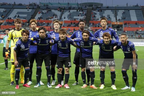 Gamba Osaka players pose for a photo prior to the AFC Champions League Group H match between Jeju United FC v Gamba Osaka at Jeju World Cup Stadium...