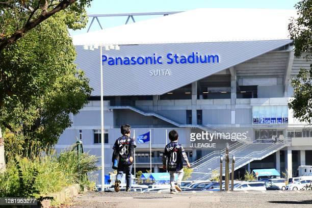 Gamba Osaka supporters are seen outside the stadium prior to the J.League Meiji Yasuda J1 match between Gamba Osaka and Kashiwa Reysol at Panasonic...