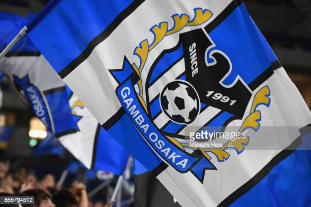 Gamba Osaka supporters cheer prior to the J.League J1 match between Gamba Osaka and Yokohama F.Marinos at Suita City Football Stadium on September...