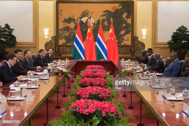 Gambian President Adama Barrow and Chinese President Xi Jinping meet during a bilateral meeting at the Great Hall of the People on December 21 2017...