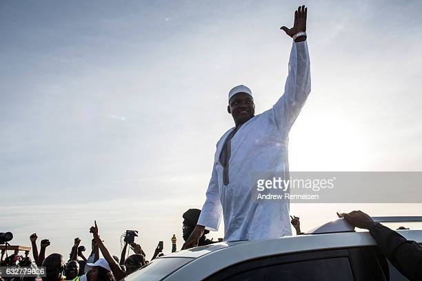 Gambian President Adama Barrow arrives at Banjul International Airport on January 26 2017 in Banjul The Gambia Barrow had been staying in Senegal...