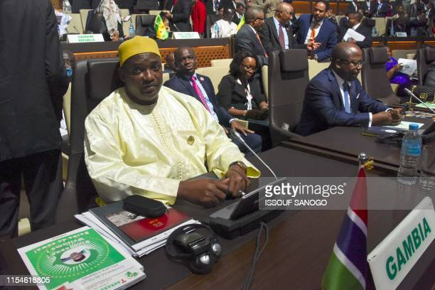 Gambian president Adama Barrow looks on during the African Union summit at the palais des Congres in Niamey on July 7 2019 African leaders met on...