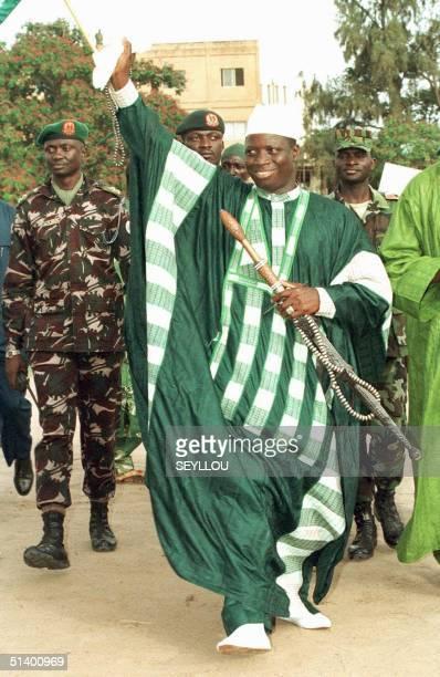 Gambian President Yahiah Jammeh arrives 24 June 1999 at a political meeting in Banjul.