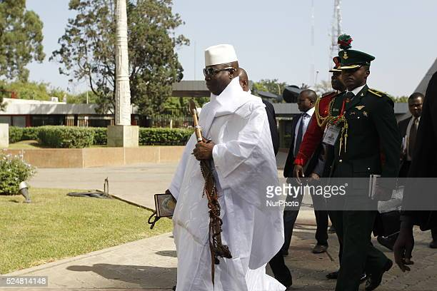 Gambian President Yahya Jammeh arrives Abuja for the 48th Ecowas extraordinary meeting of heads of states and Government in Abuja Nigeria 16 Dec 2015