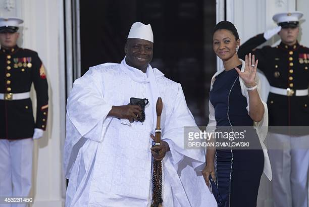 Gambian President Yahya Jammeh arrives at the White House for a group dinner during the US Africa Leaders Summit August 5, 2014 in Washington, DC....