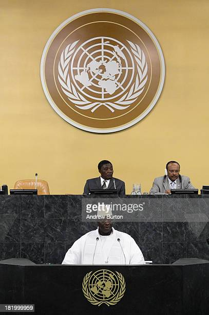 Gambian President Yahya Jammeh speaks at the 68th session of the United Nations General Assembly on September 24 2013 in New York City Over 120 prime...