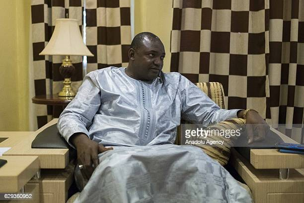 Gambian presidentelect Adama Barrow speaks during an interview in Banjul Gambia on December 12 2016 following the presidential elections Barrow urged...